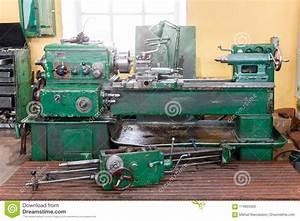 The Old Lathe Machine Tool Equipment Stock Photo