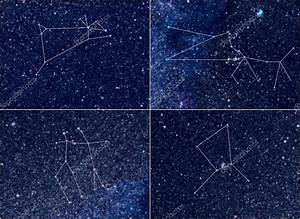 Zodiac constellations Aries Taurus Gemini Cancer — Stock ...