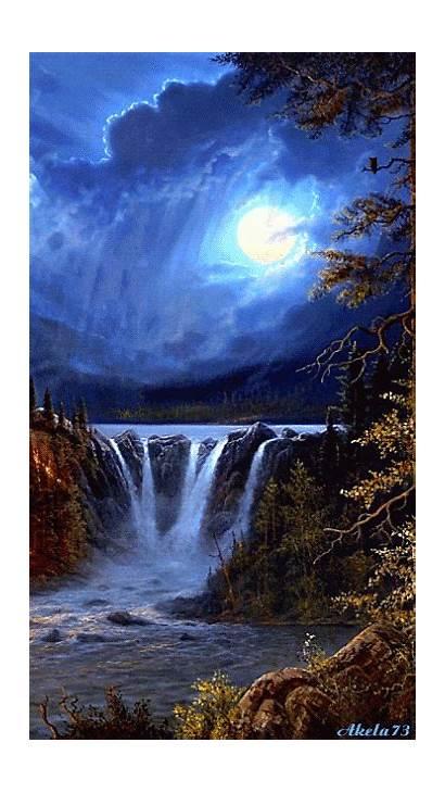 Moon Waterfall Painting Amazing Glowing Magical Sunset