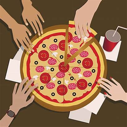 Pizza Eating Clipart Clip Friends Vector Illustration