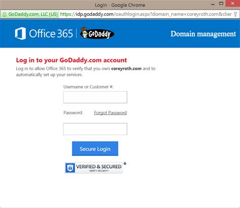 Godaddy Office 365 Outlook Email Login
