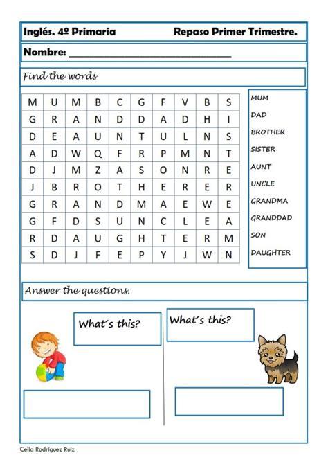 Fichas de inglés para cuarto de primaria Ejercicios de