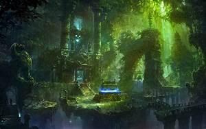 Fantasy temple jungle spooky skull skulls dark magic ruins ...