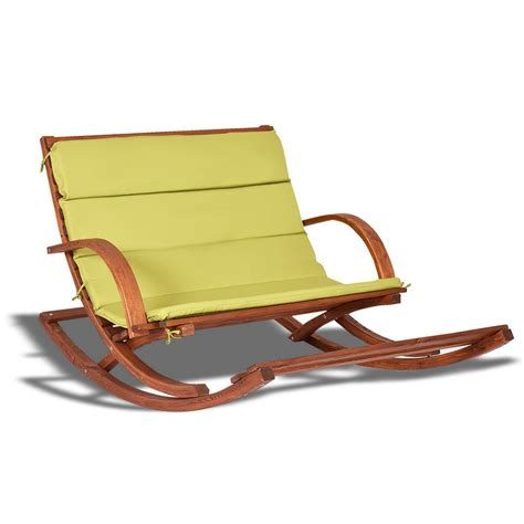 outdoor cushions for wooden rocking chairs outdoor 2 persons rocking wooden lounge chair with cushion