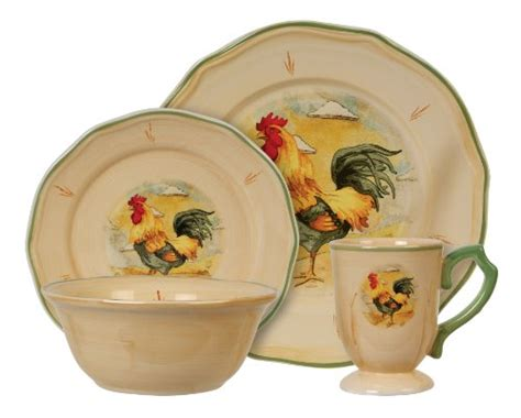 rooster dishes gibson royal rooster 16 piece fine china dinnerware set b004nnuf3m amazon price tracker