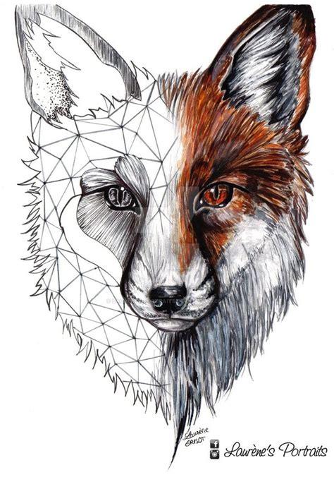 unique fox head tattoo design