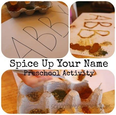 spiced name activity for five senses preschool theme 5 | spicename