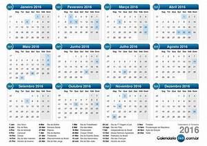CALENDÁRIO 2016 COM FERIADOS