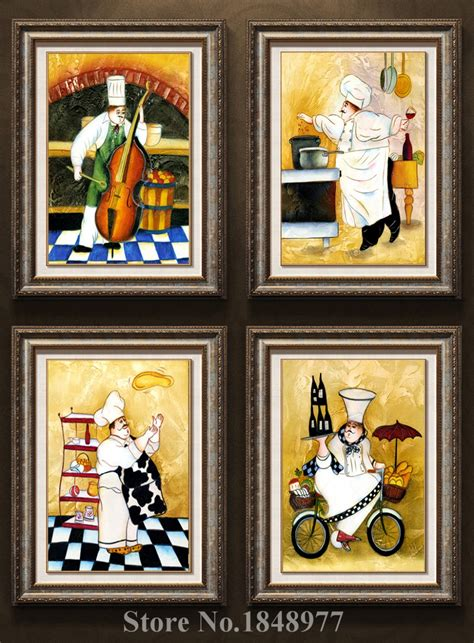 decor mural cuisine 4 panels modern wall chef painting on canvas home decoration for hotel