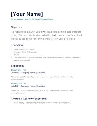 Easy Cv Template Free by Simple Resume