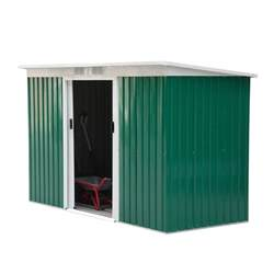 outsunny 9 x 4 outdoor metal garden storage shed green