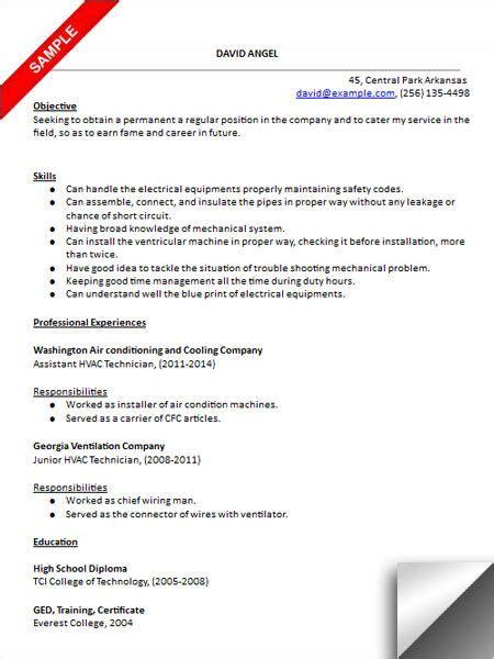 hvac technician resume sle resume exles sales