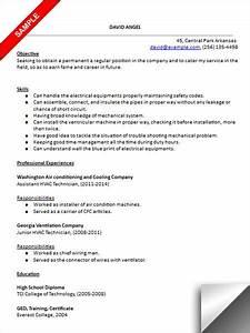 hvac technician resume sample resume examples pinterest With hvac technician resume template