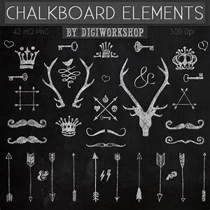 "Chalkboard Clipart, Clip art - ""Chalkboard Elements"" with ..."