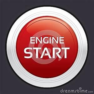 Spotlight Animation Start Engine Button Red Round Sticker Royalty Free Stock