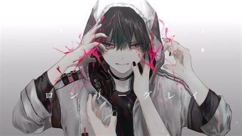 wallpaper cool anime boy hoodie headphones hands