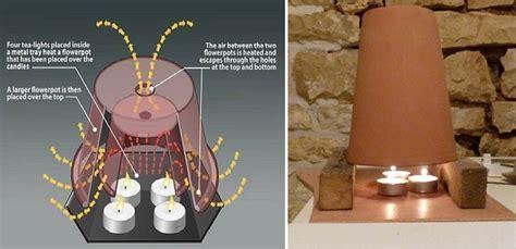 riscaldamento alternativo 2 vasi di terracotta candele e pochi centesimi al giorno attivo tv