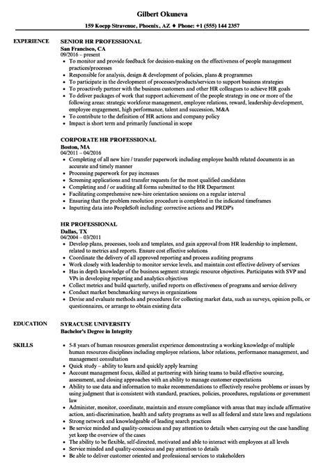 hr professional resume samples velvet jobs