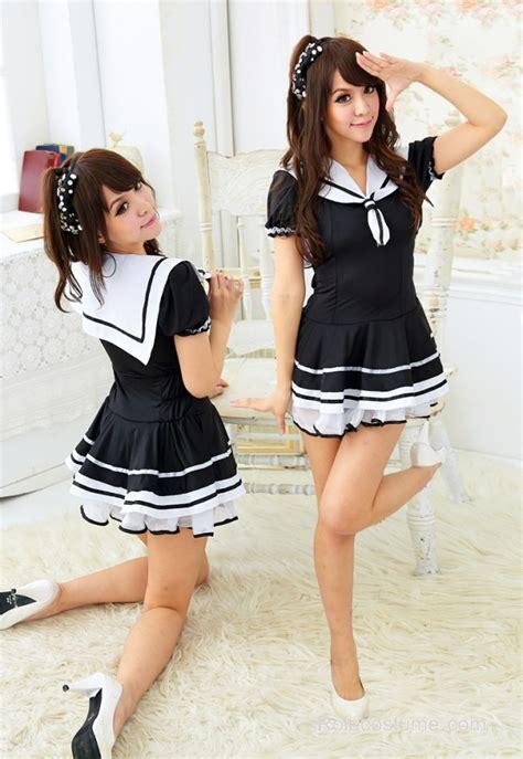 Naughty Black Short Sleeves School Girl Uniform