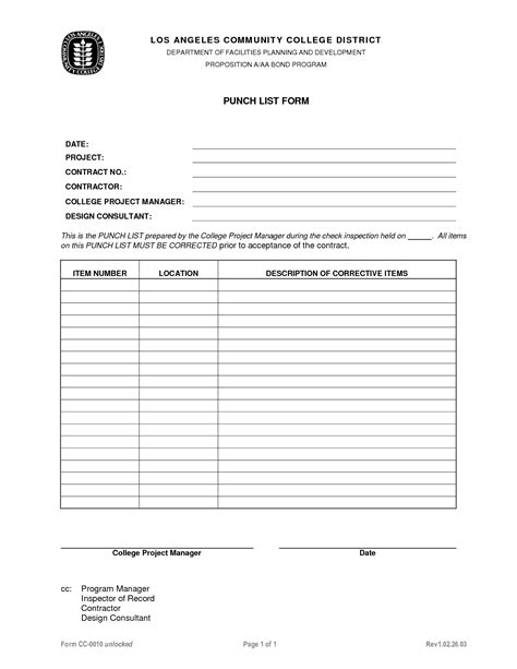 Punch List Template  Word  Excel  Pdf Formats