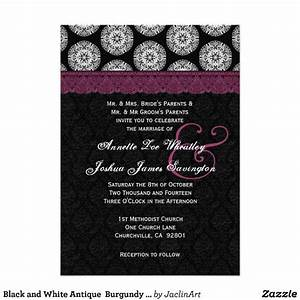 black and white antique burgundy lace wedding 03 With black white and burgundy wedding invitations