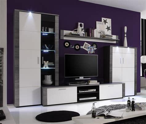 ensemble meubles tv led moderne bois  blanc