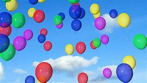 Colorful balloons flying in the sky - render 3d animation