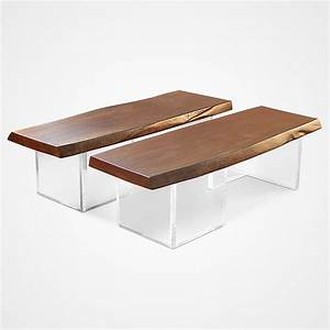 Twin wood and acrylic coffee table rotsen furniture for Acrylic wood coffee table