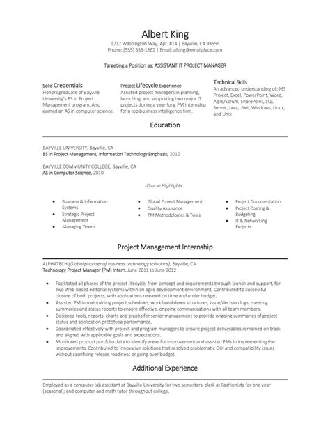 assistant project manager it resume sle assistant it project manager resume