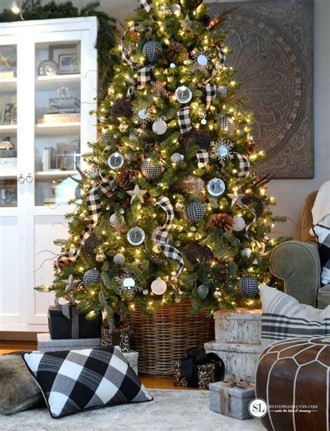 black  white plaid buffalo check christmas tree
