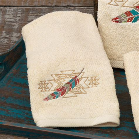 embroidered feathers hand towel