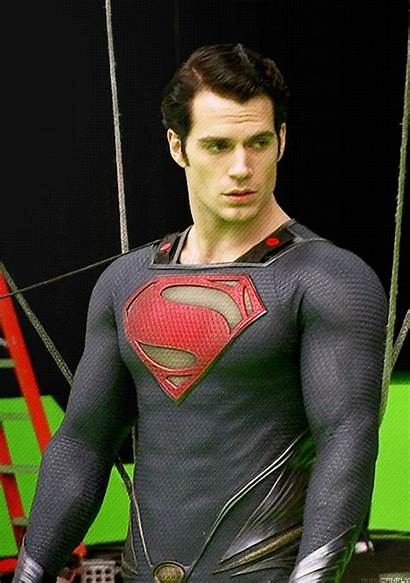 Cavill Superman Henry Costume Christopher Behind Happy