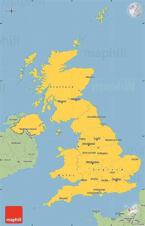savanna style simple map  united kingdom