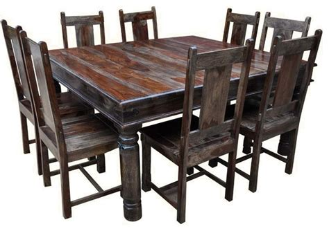 rustic square solid wood dining set rustic dining sets