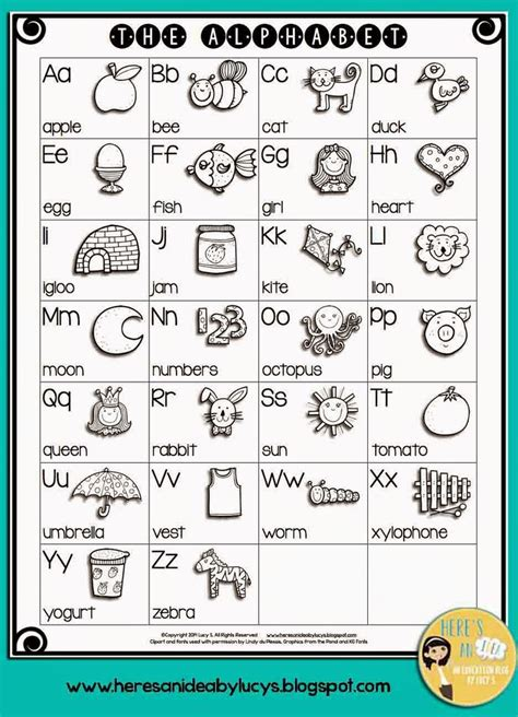 bw english alphabet chart  kids color