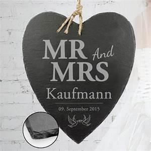Mrs Berechnen : schieferherz mit liebestauben gravur mr and mrs plus nachname ~ Themetempest.com Abrechnung