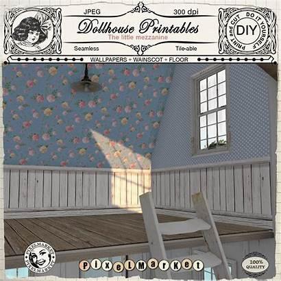 Dollhouse Printable Wainscot Miniature Wallpapers Diorama Roombox