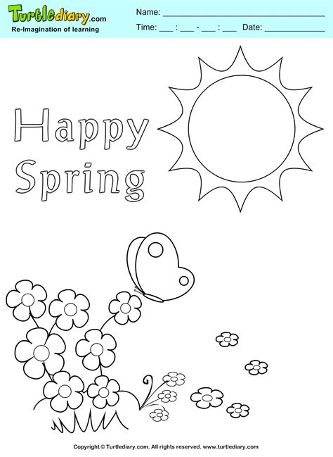 Happy Spring Coloring Pages Design Templates