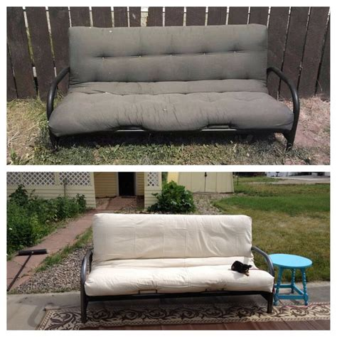 bought   futon  patio    recovered