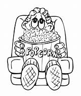 Popcorn Coloring Pages Sheet Clipart Box Boy Printable Drawing Snacks Colouring Template Clip Az Bag Books Kernel Snack Thanksgiving Colored sketch template