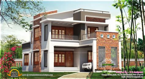 Brick Mix House Exterior Design  Kerala Home Design And