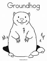 Coloring Groundhog Groundhogs Twistynoodle Noodle Twisty Ll sketch template