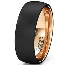 black mens wedding bands mens wedding band black gold tungsten ring brushed surface center dome 8mm comfort fit