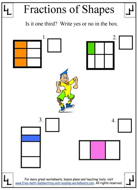 fractions worksheetdividing shapes