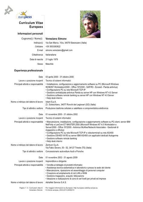 europass curriculum vitae