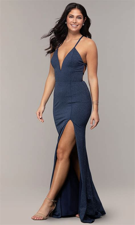 Long Glitter-Knit Navy Blue Prom Dress by Simply | Prom ...