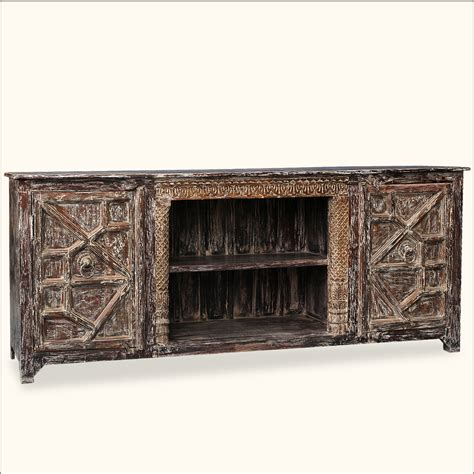 distressed media cabinet reclaimed wood distressed media console entertainment flat 3382