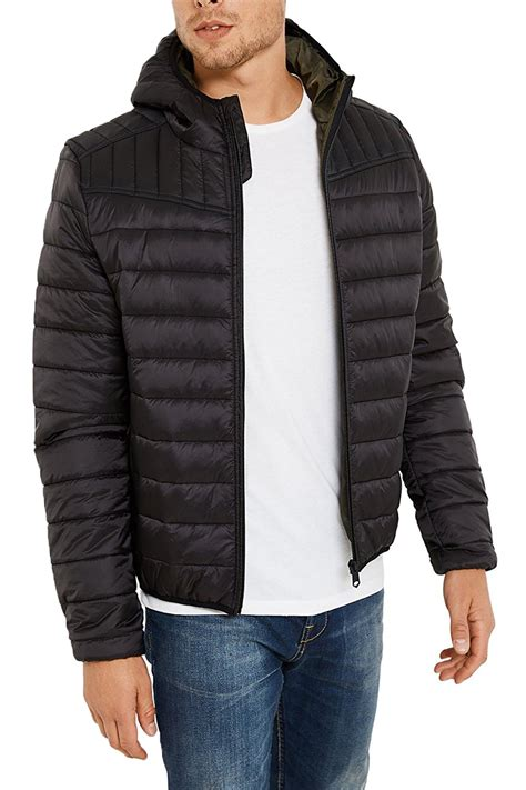 mens quilted bomber jacket threadbare mens terrier quilted coat padded hooded ma1 zip