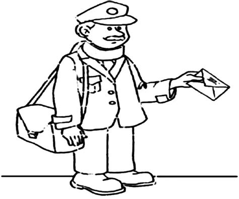 Mailman Coloring Sheet Page Hicoloringpages