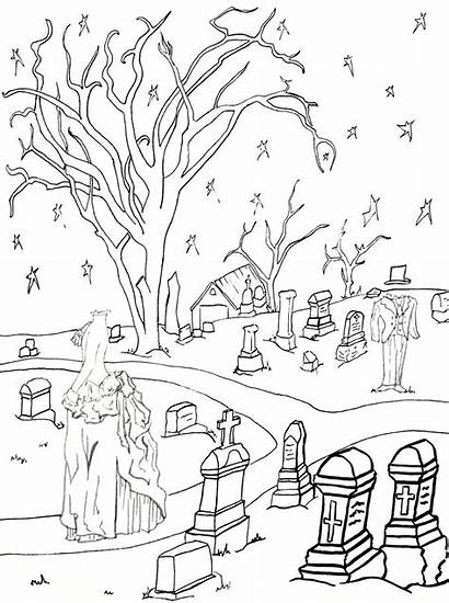 Coloring Graveyard Halloween Pages Cemetery Ghostly Adult